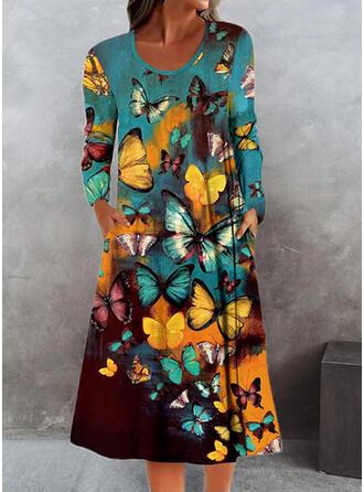 Animal Long Sleeves Shift Tunic Casual Midi Dresses