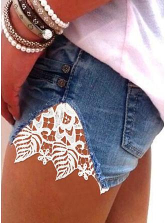 Solid Cotton Lace Above Knee Casual Pocket Button Pants Shorts Denim & Jeans