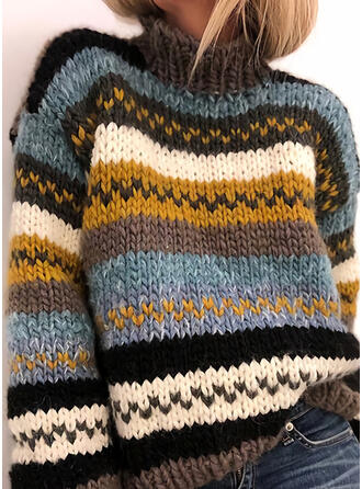 Striped Chunky knit Turtleneck Casual Sweaters