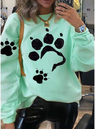 Print Animal Round Neck Long Sleeves Sweatshirt