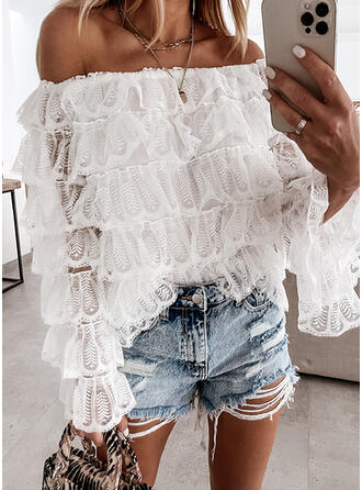 Solid Lace Off the Shoulder Flare Sleeve Long Sleeves Elegant Blouses