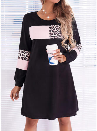 Print/Color Block/Leopard Long Sleeves Shift Above Knee Casual Dresses