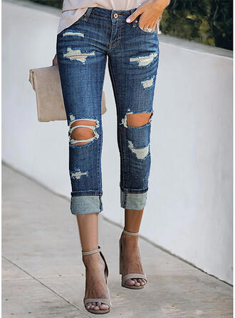 Solid Denim Cropped Plus Size Office/Business Pocket Hollow Out Ripped Pants Denim & Jeans
