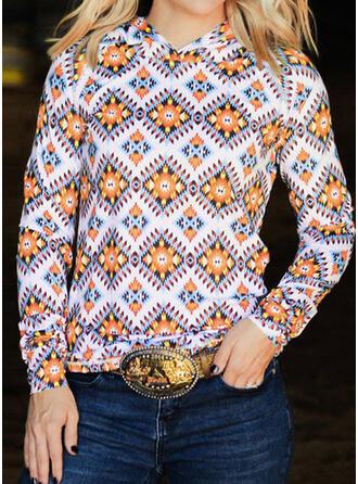 Geometric Round Neck Long Sleeves Sweatshirt