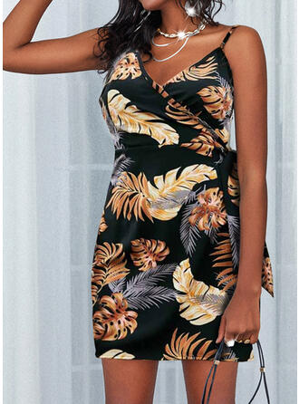 Print/Backless Sleeveless Sheath Above Knee Casual/Vacation Wrap/Slip Dresses
