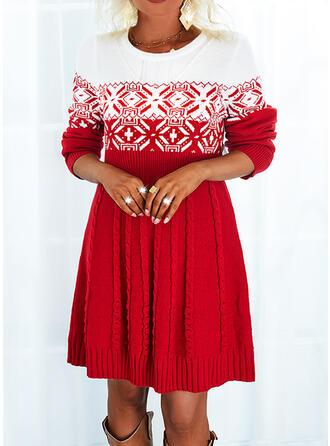 Christmas Print Color Block Round Neck Sweater Dress