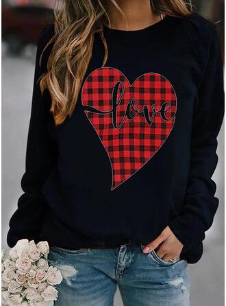 Print Grid Heart Letter Round Neck Long Sleeves Sweatshirt
