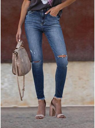 Pockets Shirred Ripped Elegant Sexy Denim & Jeans