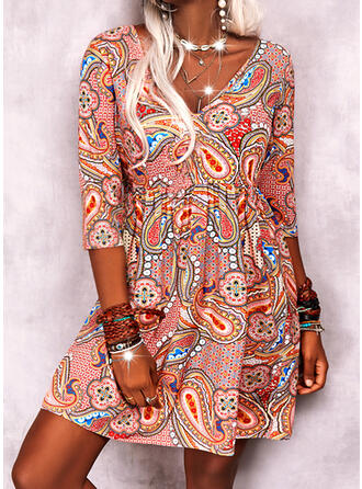 Print 3/4 Sleeves Shift Above Knee Casual/Boho Dresses