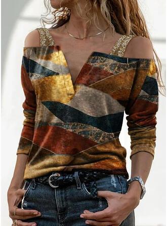 Print Sequins Cold Shoulder Long Sleeves Cold Shoulder Sleeve Casual Blouses