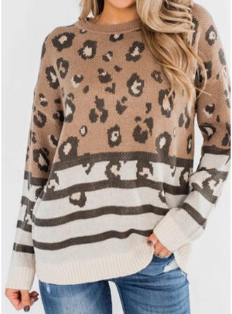 Striped Leopard Round Neck Casual Sweaters