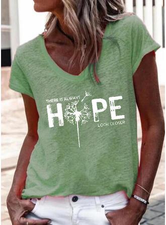 Dandelion Print Letter V-Neck Short Sleeves T-shirts