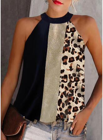 Color Block Leopard Print Halter Sleeveless Tank Tops