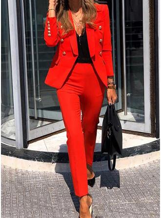 Solid Elegant Vintage Suits