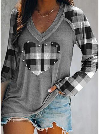 Beaded Heart Plaid V-Neck Long Sleeves T-shirts