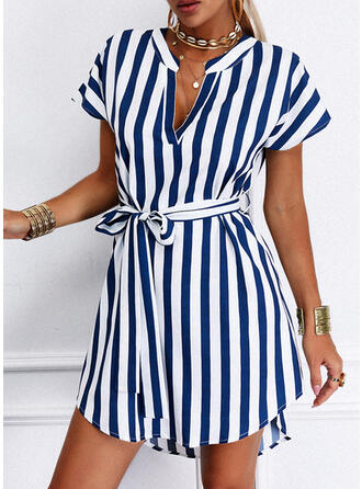 Striped Short Sleeves A-line Above Knee Casual Shirt Dresses