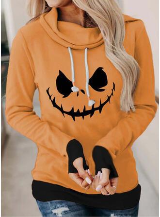 Halloween Print Long Sleeves Hoodie