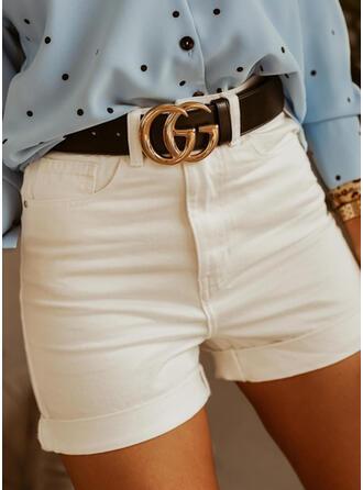 Solid Above Knee Casual Pocket Pants Shorts