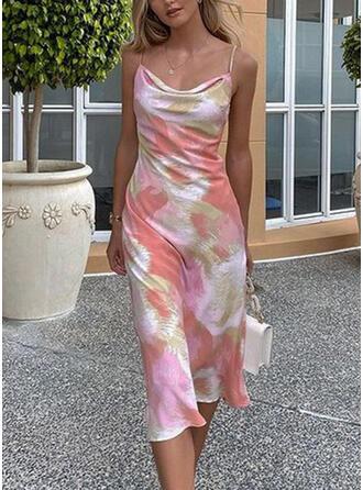 Print Sleeveless Sheath Slip Casual Midi Dresses