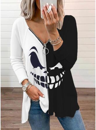Halloween Print Color Block V-Neck Long Sleeves Raglan Sleeve Casual Blouses