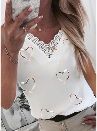 Heart Lace Print V-Neck Sleeveless Tank Tops