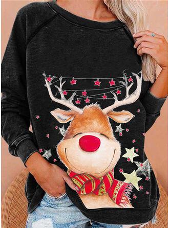 Print Reindeer Round Neck Long Sleeves Sweatshirt