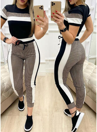 Patchwork Plus Size Drawstring Sexy Yoga Stretchy Suits