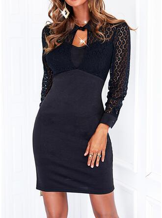 Solid Lace Long Sleeves Sheath Above Knee Little Black/Elegant Dresses
