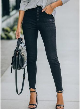 Solid Shirred Sexy Vintage Denim & Jeans