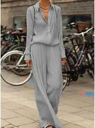 Solid Shirred Plus Size Elegant Plain Suits
