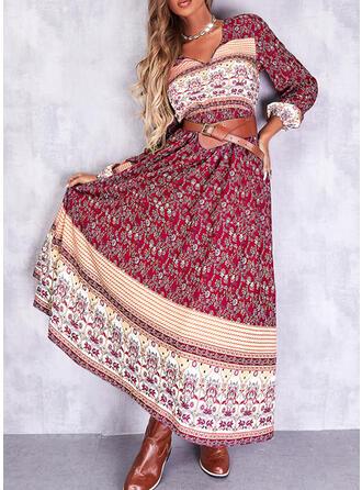 Print Long Sleeves A-line Skater Boho Maxi Dresses