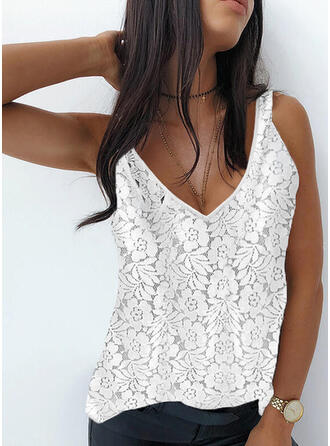Floral Lace Solid V-Neck Sleeveless Tank Tops