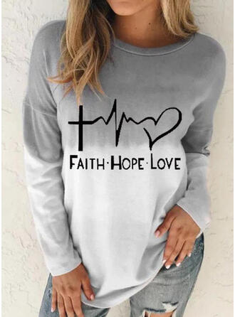 Print Gradient Heart Letter Round Neck Long Sleeves