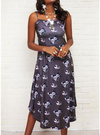 Print/Floral/Backless Sleeveless Shift Asymmetrical Casual Slip Dresses