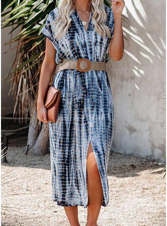 Print Short Sleeves Sheath Casual Midi Dresses