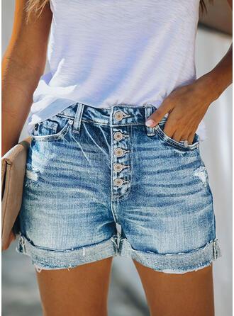 Pockets Shirred Plus Size Casual Sexy Denim Shorts
