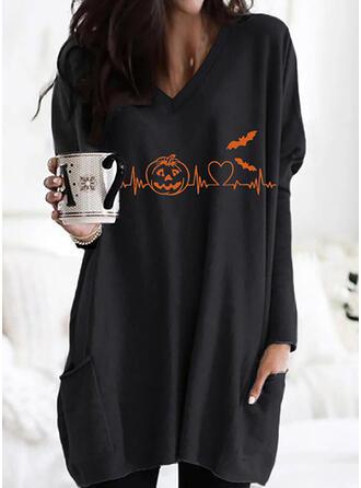 Halloween Print Heart Animal V-Neck Long Sleeves Sweatshirt