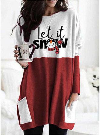 Christmas Print Color Block Plaid Letter Round Neck Long Sleeves Christmas Sweatshirt