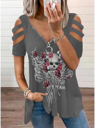 Print Floral Sequins Letter Cold Shoulder Short Sleeves Casual Blouses