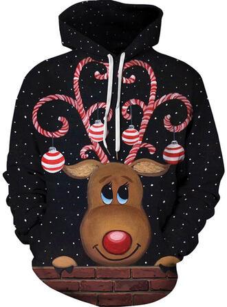 Unisex Cotton Blends Reindeer Christmas Sweatshirt