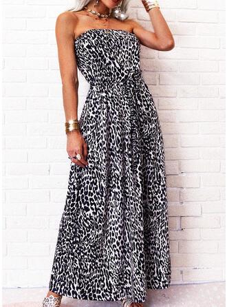 Leopard Sleeveless A-line Skater Casual Maxi Dresses