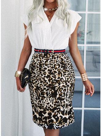 Leopard Short Sleeves Sheath Knee Length Elegant Dresses