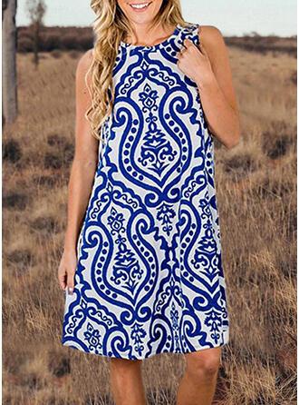 Print Sleeveless Shift Knee Length Casual/Boho Tank Dresses