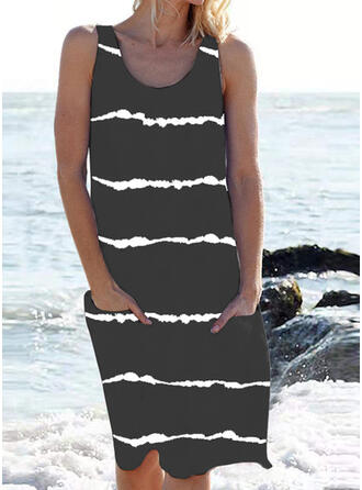 Solid Color Stripe Strap U-Neck Classic Casual Cover-ups Swimsuits