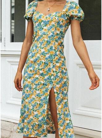 Print/Floral Short Sleeves Sheath Casual Midi Dresses