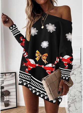 Christmas Print Long Sleeves Dropped Shoulder Shift Above Knee Party Sweatshirt Dresses