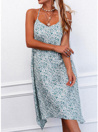 Print/Floral Sleeveless Shift Slip Casual Midi Dresses