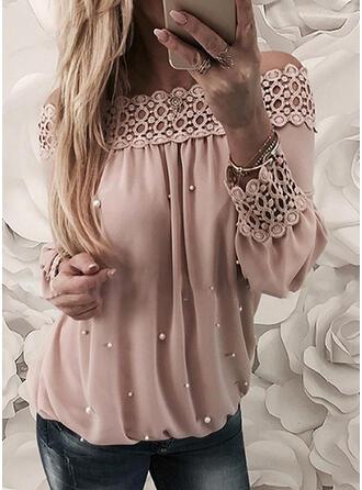 Solid Lace Off the Shoulder Long Sleeves Raglan Sleeve Elegant Blouses