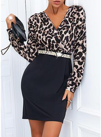 Leopard Long Sleeves Sheath Above Knee Elegant Dresses