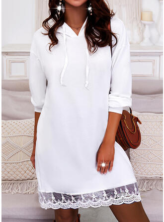 Solid Lace Long Sleeves Dropped Shoulder Shift Above Knee Casual Sweatshirt Dresses